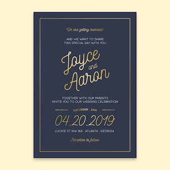 Wedding invitation navy