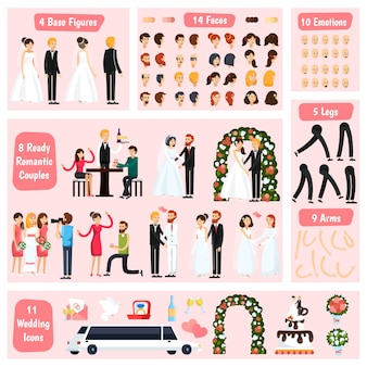 Wedding people costruttore di caratteri ortogonali