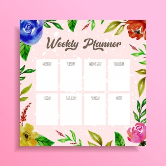 Weekly planner acquerello disegno floreale