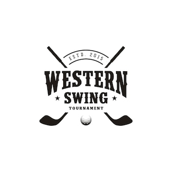 Western country texas golf logo design, vintage retrò bastone da golf incrociato