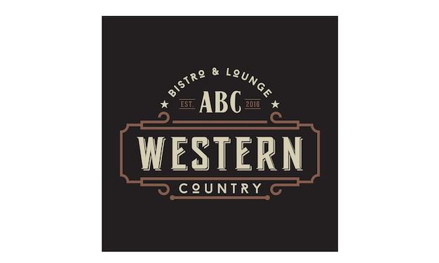 Western vintage country emblem tipografia logo design
