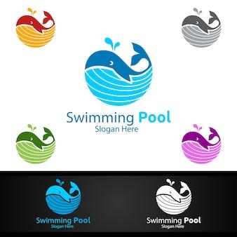 Whale swimming pool service logo con pulizia piscina e manutenzione concept design