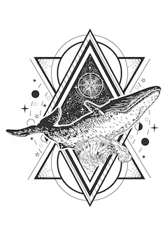 Whale tattoo art style