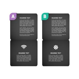 Widget nero con etichetta e l'icona