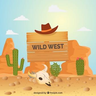 Wild west di sfondo con il segno di legno e cappello