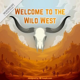 Wild west di sfondo con teschio