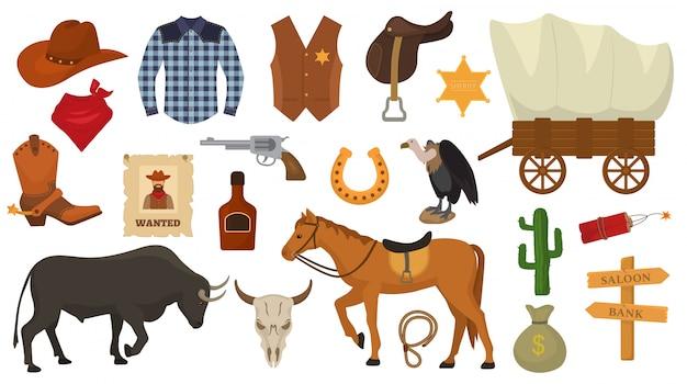 Wild west vettoriale western cowboy o sceriffo segni cappello o ferro di cavallo nel deserto della fauna selvatica con cactus illustrazione carattere cavallo selvaggiamente per rodeo set isolato su bianco