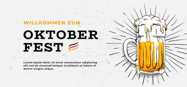 Willkommen zum oktoberfest poster design modello di banner