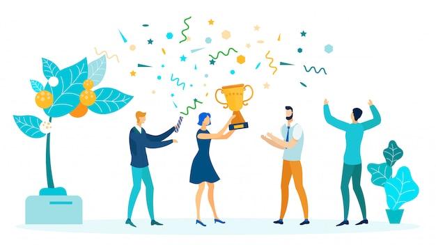 Win, victory celebration flat