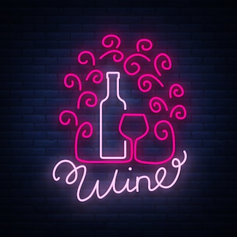 Wine bar modello logo in stile neon alla moda.