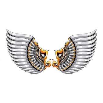 Wing mandala zentangle illustration and tshirt design premium vector