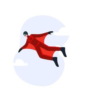 Wingsuit man. il concetto di una speciale tuta alare