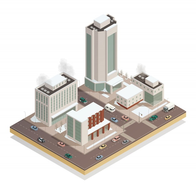 Winter city center isometric