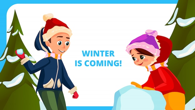 Winter is coming banner cartoon children outside