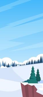 Winter landscape mountain forest sky woods