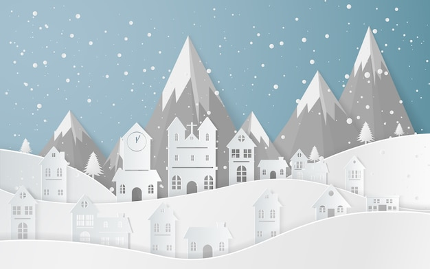 Winter snow landscape city felice anno nuovo e buon natale, arte della carta e stile artigianale.