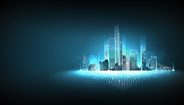 Wireframe astuto della città su fondo blu