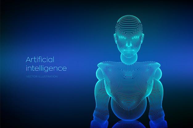 Wireframe cyborg o robot femminile. donna cyber astratta.