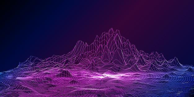 Wireframe dettagliata moderna progettazione del paesaggio techno