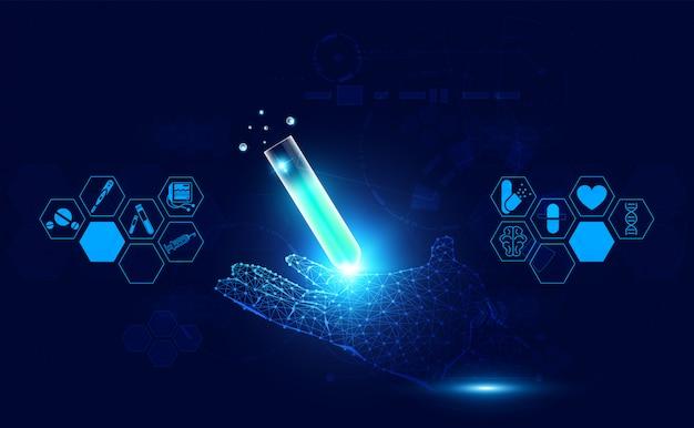 Wireframe digitale della mano di scienza medica astratta di salute e tubo di vetro