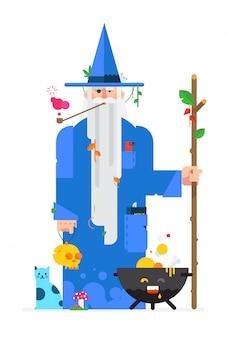 Wizard in stile piano cartoon. vettore.