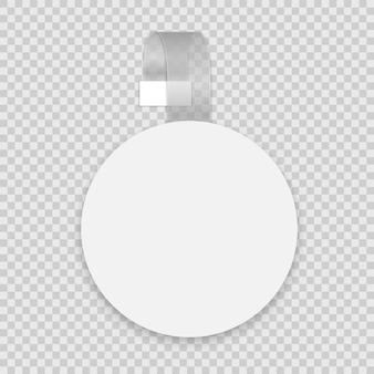 Wobbler rotondo bianco vuoto con striscia trasparente