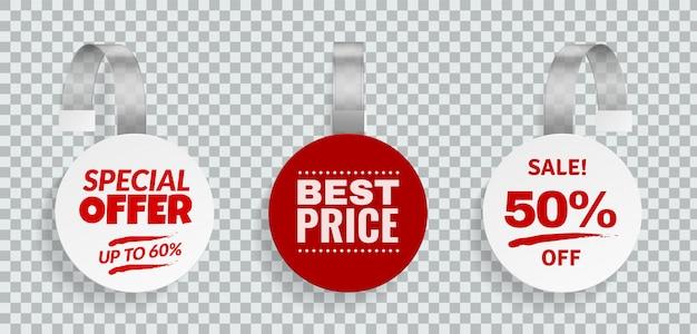 Wobblers in vendita. sconti il segno di colore per il disegno pubblicitario delle strisce che appendono il modello del wobbler nell'insieme di etichette di prezzi di vettore del deposito