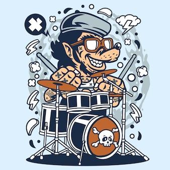 Wolf drummer cartoon