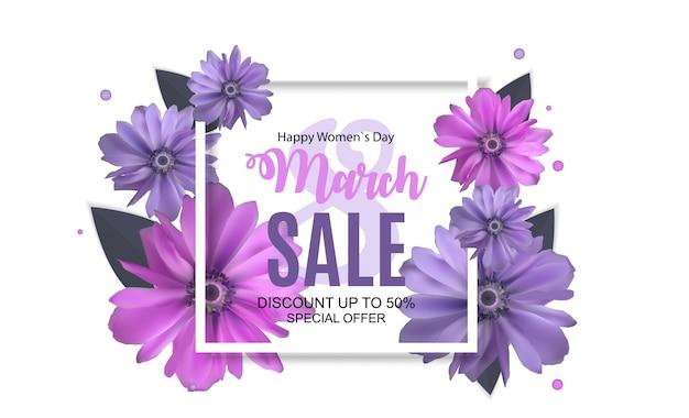 Womens day, 8 marzo banner di vendita design di primavera con fiori.