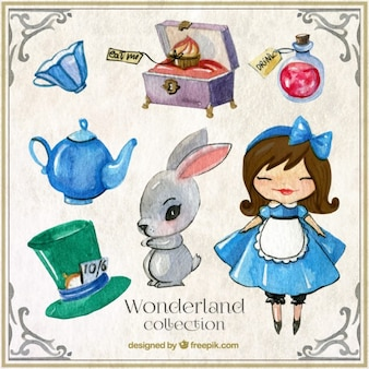 Wonderland acquerello con personaggi ed elementi simpatici