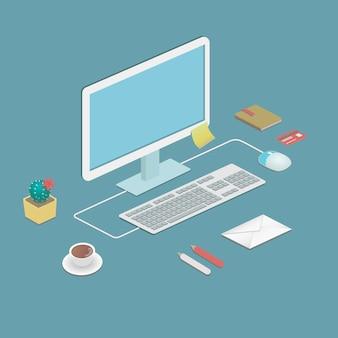 Workstation da ufficio in stile piatto con un computer desktop