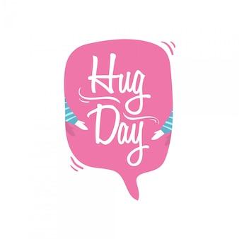 World hug day con l'illustrazione di vettore di discorso della bolla