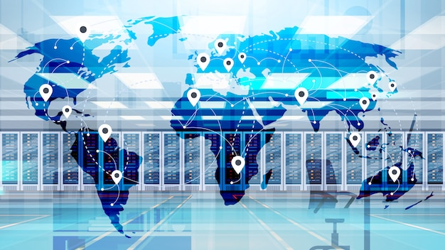 World map over data center room hosting server database di informazioni sul computer