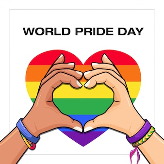 World pride day lgbt con bandiera gay