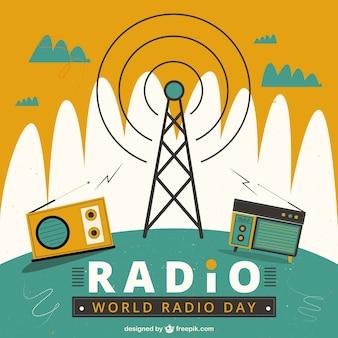 World radio giorno sfondo geometrico