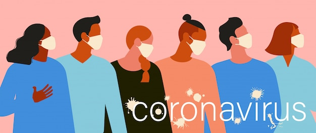 Wuhan novel coronavirus 2019 ncov, donne e uomini con mascherina medica.