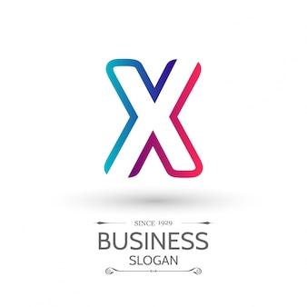 X lettera logo del modello di affari vettore icona colorata