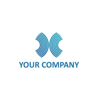 X lettera striscia o onde nel modello di logo di colore blu