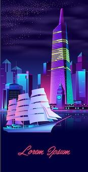 Yacht a vela nel vettore del fumetto di città baia moderna