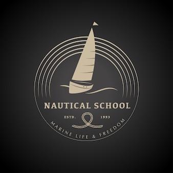 Yacht club logo design illustrazione vettoriale.
