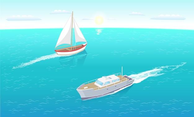 Yacht moderni sull'illustrazione del mare