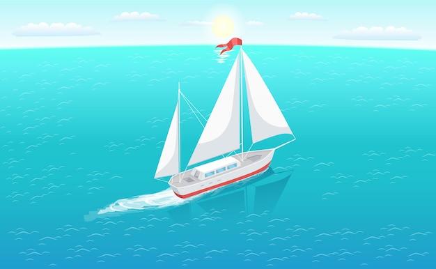 Yacht moderno sull'illustrazione del mare