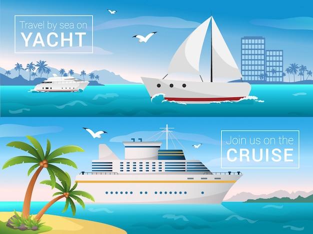 Yacht nella baia dell'isola tropicale, fodera di crociera del mare dell'oceano nelle isole.