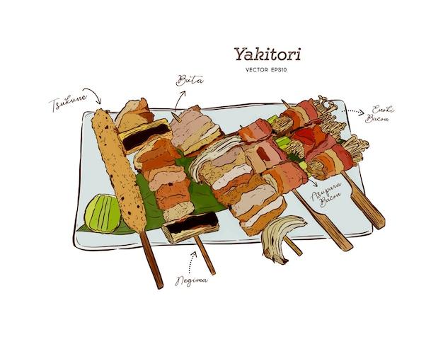 Yakitori spiedini illustrazione di una mano disegnare cibo giapponese.