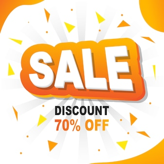 Yellow banner background flash vendita 20% di sconto
