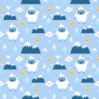 Yeti carino con montagne senza cuciture