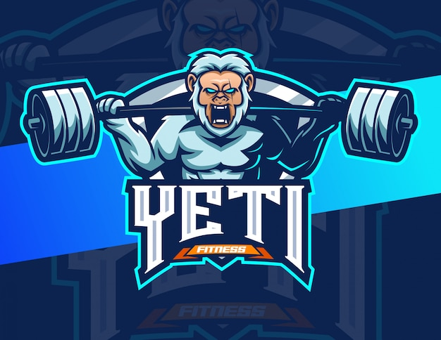 Yeti fitness bodybuilding mascotte esport logo design