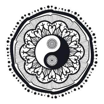 Yin e yang vintage in mandala