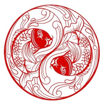 Ying yang cinese di modo con il pesce