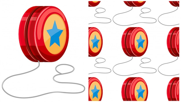 Yo-yo seamless pattern isolato su bianco